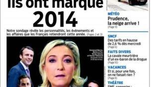 Marine Le Pen na capa do Aujourd'Hui en France deste sábado.