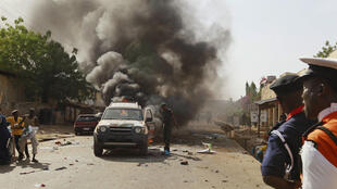Attack in Gombe, northeast Nigeria, after President Goodluck Jonathan's visit, 2 Feb.