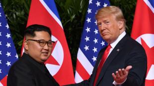 朝鮮最高領導人金正恩與美國總統特朗普資料圖片