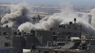 Rafah in the Gaza Strip bombarded by Israeli airplanes