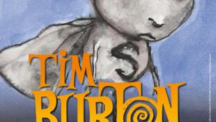 Cartaz da mostra e restrospectiva de Tim Burton, na Cinemateca Francesa, em Paris.