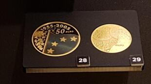 Đồng euro bằng vàng được trưng bày tại bảo tàng Monnaie de Paris