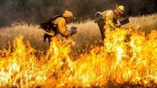 Bombeiros tentam apagar fogo em Lake County, na Califórnia, EUA, em imagem de 30 de julho de 2015.