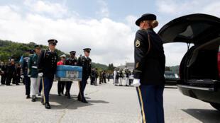 Lễ tiếp nhận hài cốt lính Mỹ tử trận trong cuộc chiến tranh Triều Tiên (1950-1953) tại Seoul, ngày 13/07/2018.