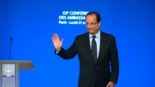François Hollande a annoncé sa visite à Kinshasa lors de la 20e conférence annuelle des ambassadeurs, à Paris le 27 août 2012.