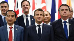 Emmanuel Macron e Jair Bolsonaro, em Osaka, na reunião de cúpula do G20.
