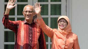 新加坡總統哈莉瑪-雅克布與丈夫阿爾哈西希2017年9月13日