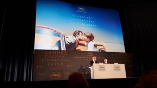 El delegado general y el presidente del Festival de Cannes durante la presentación a la prensa.