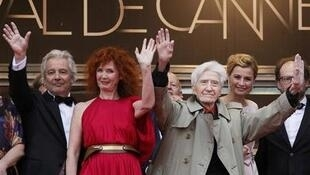 Alain Resnais at the Cannes Film Festival with (L-R) Pierre Arditi, Sabine Azema, Anne Consigny and Denis Podalydes
