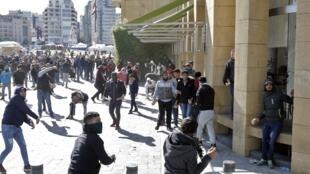 Affrontements ce lundi 27 janvier 2020 dans le centre de Beyrouth alors que le Parlement s'est réuni pour voter le budget.