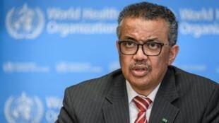 Tedros Adhanom Ghebreyesus, directeur-général de l'Organisation mondiale de la santé (OMS), le 11 mars 2020 à Genève.