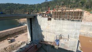 A sluice gate under construction at the Nam Theun 2 dam.