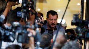Le ministre de l'Intérieur et chef de la Ligue Matteo Salvini, à Rome, le 12 août 2019.