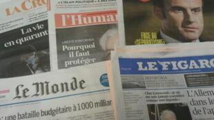 Primeiras páginas dos jornais franceses de 19 de fevereiro de  2020