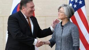 美國國務卿蓬佩奧與韓國外長康京和資料圖片