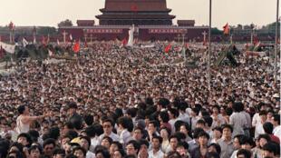 Biểu tình của sinh viên Trung Quốc đòi dân chủ ở quảng trường Thiên An Môn năm 1989.