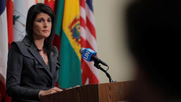 """A embaixadora americana na ONU, Nikki Haley, declarou, durante reunião do Conselho de Segurança na ONU, na sexta-feira (5), que o regime iraniano está """"de sobreaviso""""."""