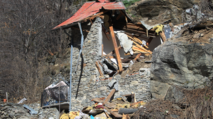 The mountain chalet destroyed by a rock in Isola, southern French Alps
