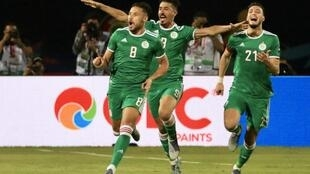 Mohamed Youcef Belali (front) scored Algeria's winner against Senegal.