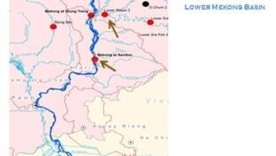 Bản đồ vị trí của dự án đập Sambor, Cam Bốt