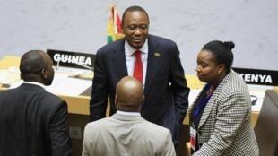 O presidente do Quênia, Uhuru Kenyatta, durante a cúpula da União Africana realizada na Etiópia.