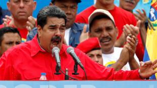 O presidente venezuelano Nicolas Maduro, durante encerramento da campanha da Assembleia Constituinte, quinta-feira, 27 de julhol, em Caracas.