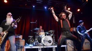 Eagles of Death Metal singer Jesse Hughes is pictured at the concert at Debaser Medis in Stockholm, Sweden, February 13, 2016.