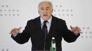 Former IMF head Dominique Strauss-Kahn gives a lecture on the future of world economy in Kiev