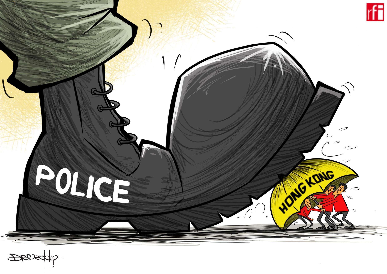 Kibonzo hiki kinaonesha polisi wakipambana na waandamanaji huko Hong Kong 21.10.2019