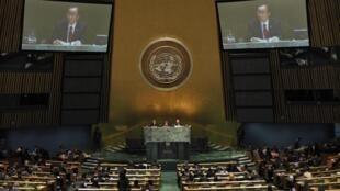 Ban Ki-Moon dirige-se à Assembleia geral daONU, a 24 de Setembro de 2012.