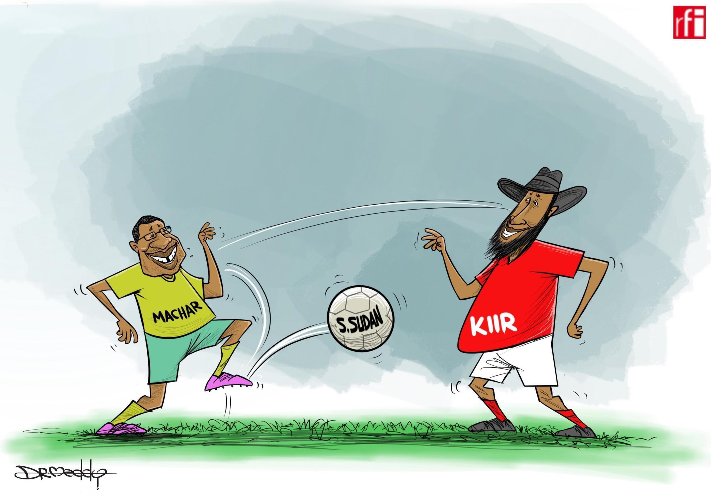 Sudan Kusini: Kibonzo hiki kinaonesha  mvutano kuhusu uundwaji wa serikali ya pamoja, wawili hao walikutana katika Ikulu ya Entebbe nchini Uganda  (07/11/2019)