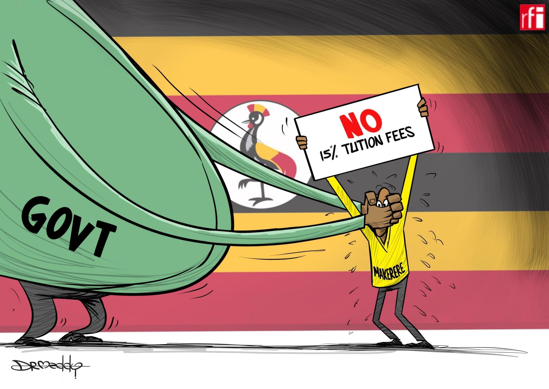 Kibonzo hiki kinaonesha serikali ilivyopambana na wanafunzi wa Chuo Kikuu cha Makerere wanaopinga nyongeza ya mshahara  01/11/2019