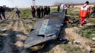 Des débris du Boeing 737 de la compagnie Ukrainian Airlines abattu par un missile iranienle 8 janvier 2020.