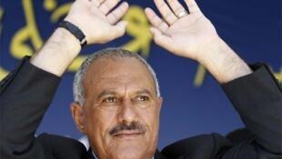 Yemeni President Ali Abdullah Saleh at Thursday's rally