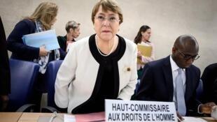 Cao Ủy Nhân Quyền Liên Hiệp Quốc Michelle Bachelet tại Hội Đồng Nhân Quyền, Geneve, ngày 05/03/2019.
