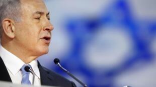 O primeiro-ministro israelense, Benjamin Netanyahu, discursa no congresso norte-americano contra um possível acordo nuclear com o Irã .