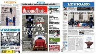 A homenagem da França ao tenente-coronel, Arnaud Beltrame, que salvou refém em atentado, é o princial destaque na imprensa francesa desta quinta-feira(29).