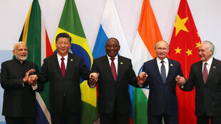 The five heads of state of the BRICS  countries during their summit in Johannesburg, on 26 July 2018.
