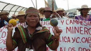 Marcha en Panamá contra los proyectos mineros.