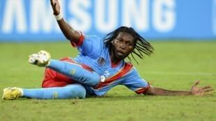 Dieumerci Mbokani, sous le maillot de la RD Congo, le 28 janvier 2013, à Durban, lors de la CAN 2013.