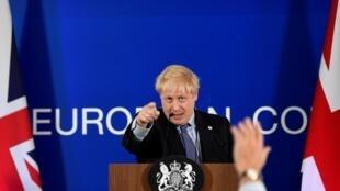 O primeiro-ministro britânico, Boris Johnson, durante uma coletiva de imprensa na Cúpula de Líderes da União Europeia