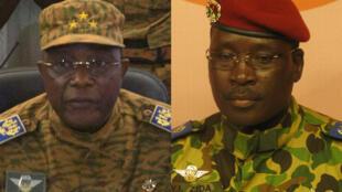 General Honoré Traoré, left, and Lieutenant Colonel Isaac Zida, right.