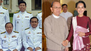 La junte au pouvoir en Thaïlande, (en bas, à gauche), le général Prawit Wongsuwan, n° 2 de la junte. (A droite) Aug San Suu Kyi sert la main du président Thein Sein à Naypyidaw en Birmanie.