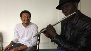 Flautist Ghandi Adam and singer Nouredeen Gibreel Yousif rehearsing at the Atelier des artistes exil à Paris, October 2017