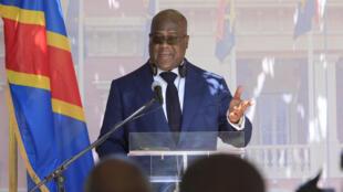 Conférence de presse du président congolais Félix Tshisekedi à Luanda, en Angola, le 5 février 2019.