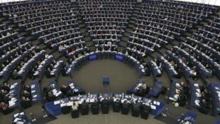 Le parlement européen s'apprête à voter son soutien à la reconnaissance d'un Etat palestinien, le 17 décembre 2014.