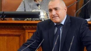 Le Premier ministre Boïko Borissov, lors de l'annonce de la démission du gouvernement bulgare, le 20 février 2013 à Sofia.