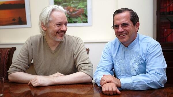 Julian Assange with Ecuador's Foreign Affairs Minister Ricardo Patiño in the London embassy last year