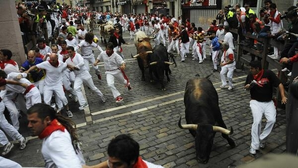 Spain's traditional running of the bulls