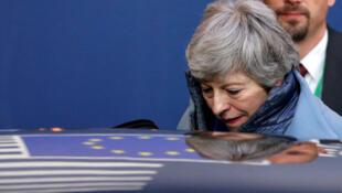 La Première ministre britannique Theresa May quitte le sommet sur le report du Brexit, à Bruxelles le  11 avril 2019.